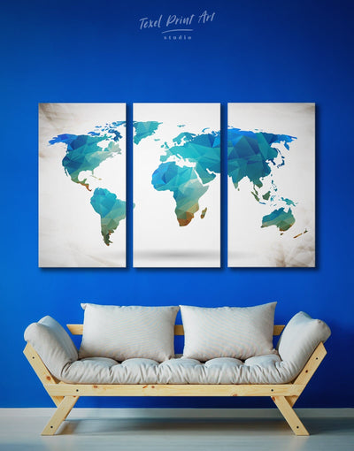 3 Panels Blue Geometric Map Wall Art Canvas Print - 3 Panels Abstract Abstract map abstract world map wall art bedroom