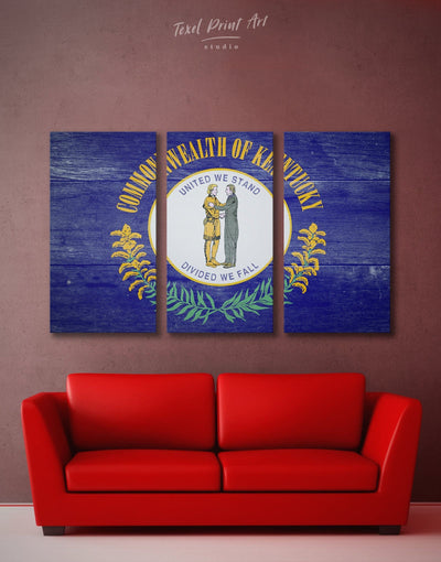 3 Panels Blue Kentucky State Flag Wall Art Canvas Print - 3 Panels blue flag wall art Hallway Living Room
