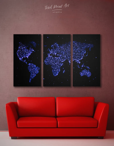 3 Panels Blue Lights World Map Wall Art Canvas Print - 3 Panels Abstract map black blue corkboard