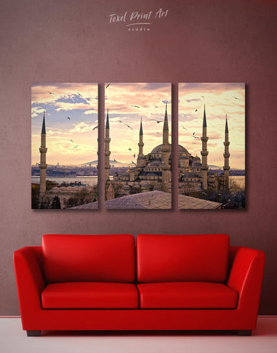 3 Panels Blue Mosque Wall Art Canvas Print - Canvas Wall Art 3 Panels Architectural Wall Art bedroom Hallway Living Room