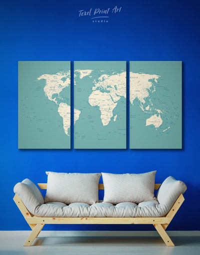 3 Panels Blue Push Pin World Map Wall Art Canvas Print - 3 Panels bedroom Blue blue and white Blue wall art for living room