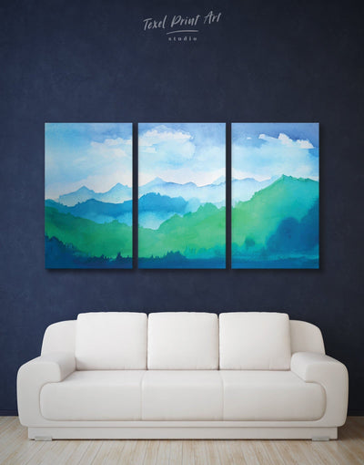 3 Panels Blue Ridge Mountains Wall Art Canvas Print - 3 Panels bedroom blue and green wall art landscape wall art Living Room