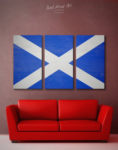3 Panels Blue Scotland Flag Wall Art Canvas Print - 3 Panels blue flag wall art Hallway Office Wall Art