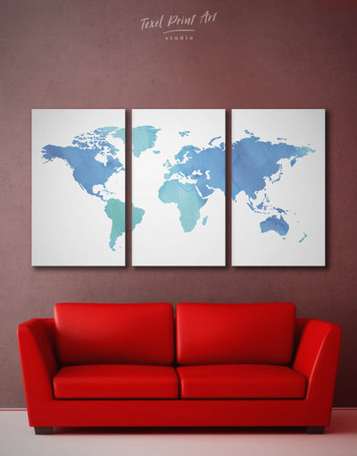 3 Panels Blue Watercolor World Map Wall Art Canvas Print - 3 Panels Abstract map bedroom Blue blue wall art for bedroom