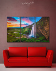 3 Panels Blue Waterfall in Iceland Wall Art Canvas Print