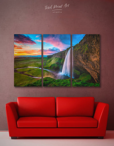 3 Panels Blue Waterfall in Iceland Wall Art Canvas Print - 3 Panels bedroom Hallway landscape wall art Living Room