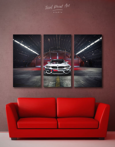 3 Panels BMW Wall Art Canvas Print - 3 Panels bachelor pad Black Car garage wall art