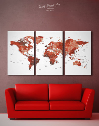 3 Panels Bordeaux World Push Pins Map Wall Art Canvas Print - 3 Panels bedroom contemporary wall art map of the world labeled modern wall