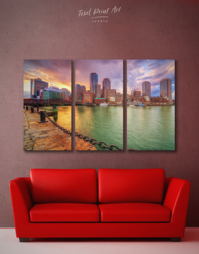 3 Panels Boston Cityscape Wall Art Canvas Print - 3 Panels bedroom Boston Cityscape Dining room