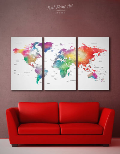 3 Panels Bright Colored World Map Wall Art Canvas Print - 3 Panels bedroom blue contemporary wall art green