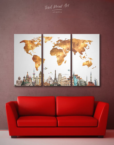 3 Panels Brown Geometric World Map Wall Art Canvas Print - 3 Panels Abstract Abstract map bedroom contemporary wall art