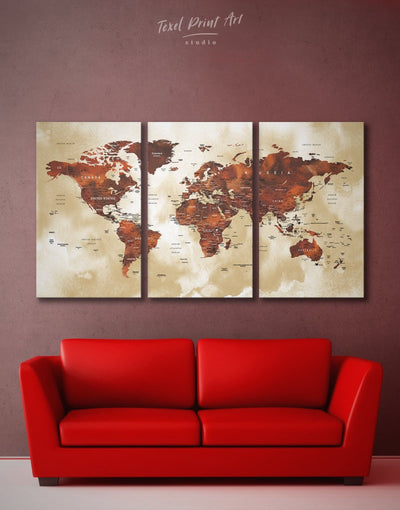 3 Panels Brown Watercolor Map Wall Art Canvas Print - 3 Panels bedroom Brown contemporary wall art map of the world labeled