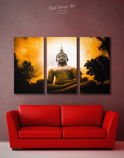 3 Panels Buddha Spiritual Wall Art Canvas Print - 3 Panels bedroom Black Buddha wall art buddhist wall art