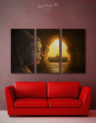 3 Panels Buddha Wall Art Canvas Print - 3 Panels bedroom Brown Buddha wall art buddhist wall art