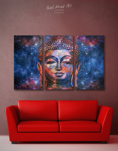 3 Panels Buddhist Wall Art Canvas Print - 3 Panels bedroom Blue Buddha wall art buddhist wall art