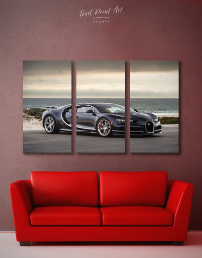 3 Panels Bugatti Sports Car Wall Art Canvas Print - 3 Panels bachelor pad car garage wall art race car wall art
