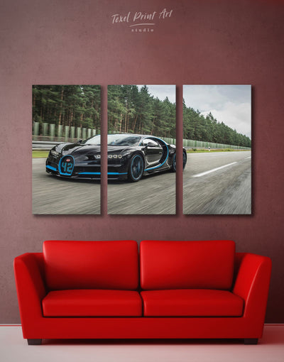 3 Panels Bugatti Sportscar Wall Art Canvas Print - 3 Panels bachelor pad Car garage wall art Grey