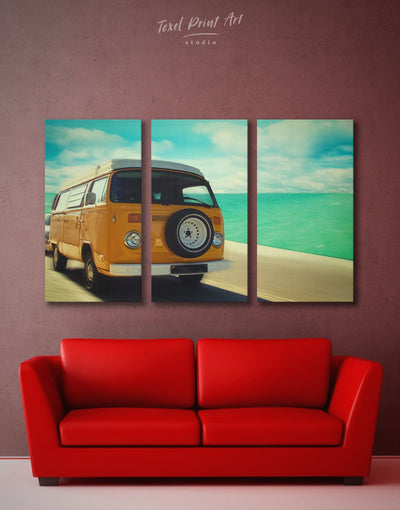 3 Panels Camper Van Wall Art Canvas Print - 3 Panels bedroom Car Living Room living room wall art