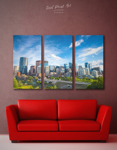 3 Panels Canada Wall Art Canvas Print - 3 Panels bedroom Blue blue and green wall art City Skyline Wall Art