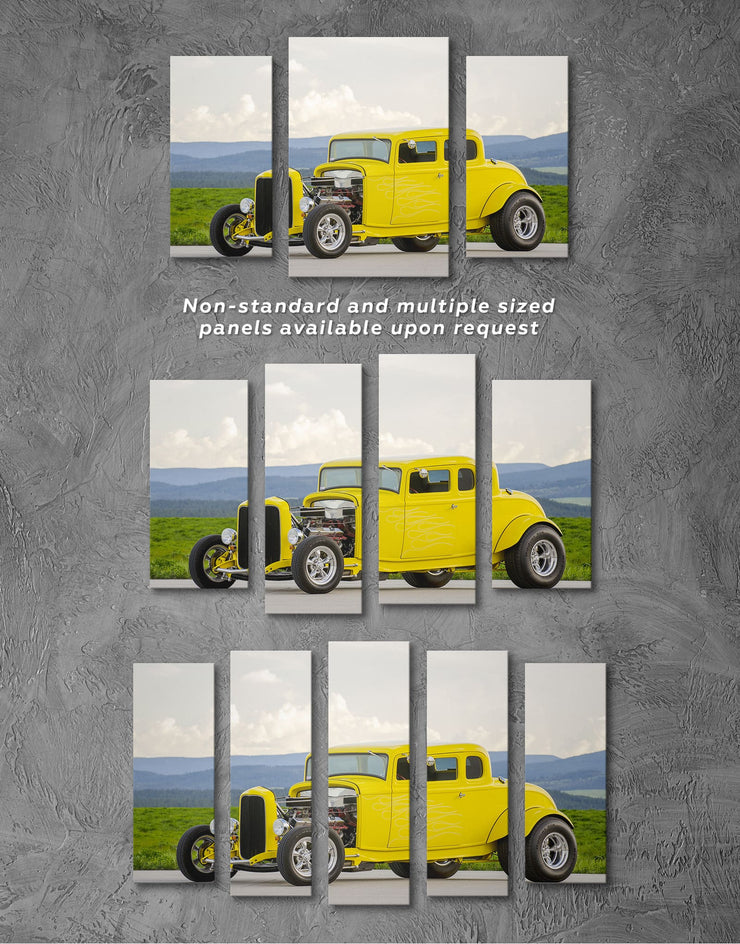 3 Panels Carros Antigos Wall Art Canvas Print - 3 Panels bachelor pad car garage wall art Hallway