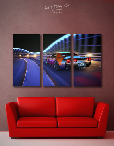3 Panels Chevrolet Sports Car Wall Art Canvas Print - 3 Panels car garage wall art race car wall art wall art for men