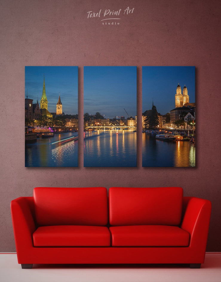 3 Panels City of Zurich Wall Art Canvas Print - 3 Panels City Skyline Wall Art Cityscape Living Room Office Wall Art