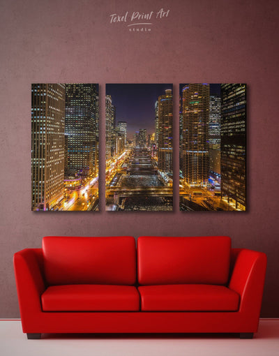 3 Panels Cityscape Wall Art Canvas Print - 3 Panels bedroom city skyline wall art Cityscape Living Room