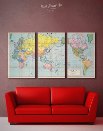 3 Panels Classic World Map Wall Art Canvas Print - 3 Panels bedroom map of the world labeled Push pin travel map World map