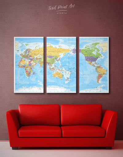 3 Panels Classic World Map Wall Art Canvas Print - 3 Panels bedroom Blue Blue Wall Art blue wall art for bedroom