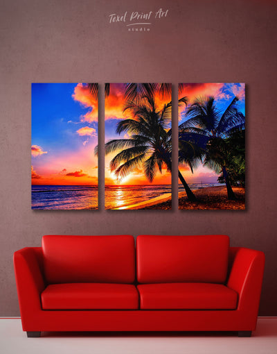 3 Panels Coast Sunset Wall Art Canvas Print - 3 Panels Beach House beach wall art beach wall art for bathroom bedroom
