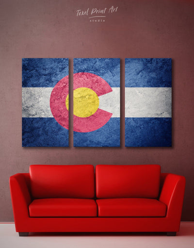 3 Panels Colorado State Flag Wall Art Canvas Print - 3 Panels blue flag wall art Hallway Living Room