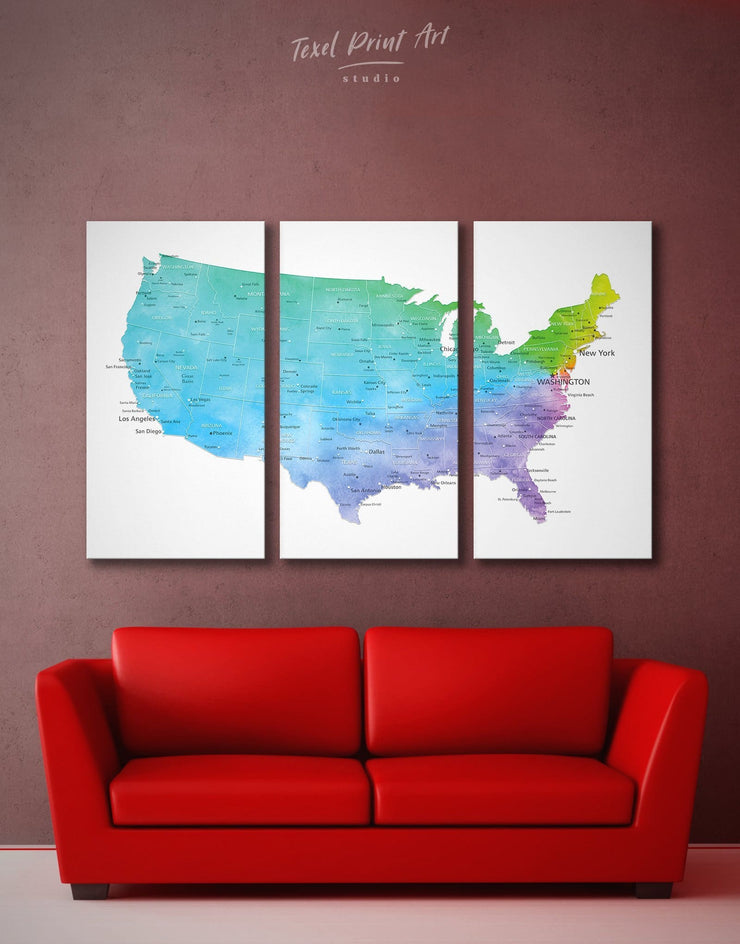 3 Panels Colorful USA Map Wall Art Canvas Print - 3 Panels bedroom Blue contemporary wall art Country Map