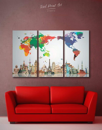 3 Panels Colorful World Map Wall Art Canvas Print - 3 Panels Abstract map bedroom corkboard Hallway