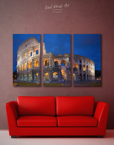 3 Panels Colosseum Wall Art Canvas Print - 3 Panels Architectural Wall Art bedroom dining room wall art Hallway