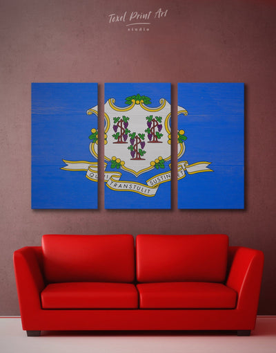 3 Panels Connecticut State Wall Art Canvas Print - 3 Panels blue flag wall art Hallway Living Room