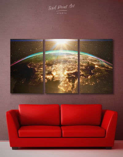 3 Panels Cosmic World Wall Art Canvas Print - 3 Panels Hallway Living Room Office Wall Art space canvas wall art