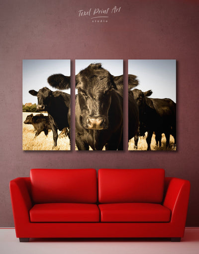 3 Panels Cow Animal Wall Art Canvas Print - 3 Panels Animal Animals Black cow canvas wall art