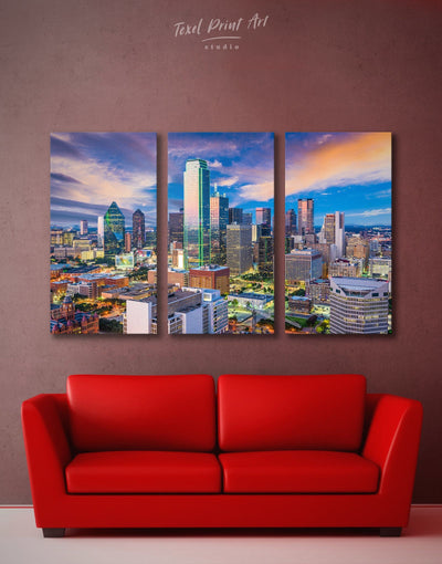 3 Panels Dallas Skyline Canvas Wall Art - Canvas Wall Art 3 Panels bedroom City Skyline Wall Art Cityscape dallas wall art