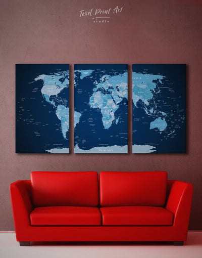3 Panels Dark World Map Wall Art Canvas Print - 3 Panels bedroom Blue corkboard Hallway