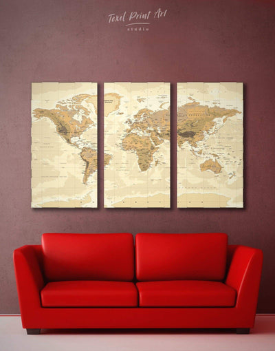 3 Panels Detailed Map Wall Art Canvas Print - 3 Panels bedroom Brown Living Room Office Wall Art