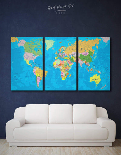 3 Panels Detailed Travel Map Wall Art Canvas Print - 3 Panels Blue blue wall art for bedroom Office Wall Art Push pin travel map