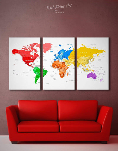 3 Panels Detailed World Map Wall Art Canvas Print - 3 Panels bedroom blue contemporary wall art green