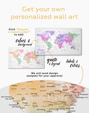3 Panels Detailed World Map Wall Art Canvas Print 0713
