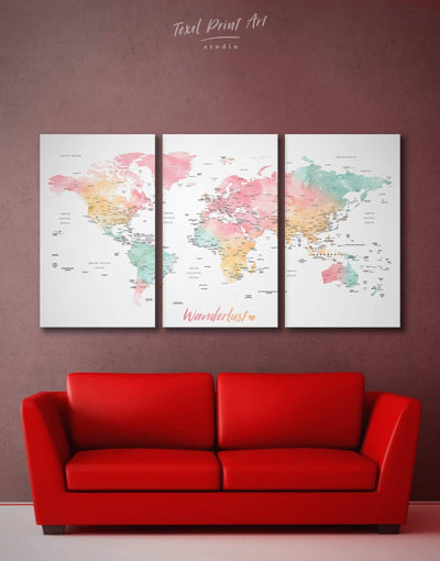 3 Panels Detailed World Map Wall Art Canvas Print - 3 Panels bedroom Bright colored contemporary wall art Living Room