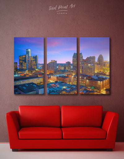 3 Panels Detroit Wall Art Canvas Print - 3 Panels bedroom City Skyline Wall Art Cityscape detroit wall art