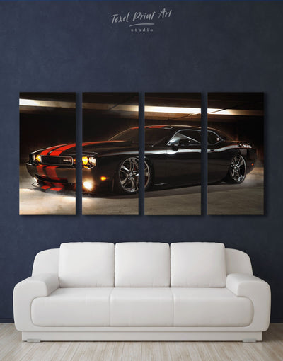3 Panels Dodge Challenger Srt Demon Wall Art Canvas Print - 3 Panels bachelor pad Car Hallway Living Room