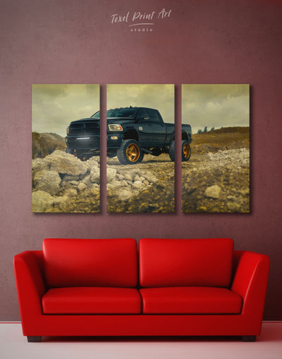 3 Panels Dodge Ram Wall Art Canvas Print - 3 Panels bachelor pad car garage wall art Hallway
