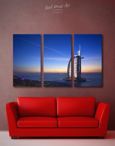 3 Panels Dubai Burj Al Arab Jumeirah Wall Art Canvas Print - Canvas Wall Art 3 Panels bedroom City Skyline Wall Art Cityscape Hallway