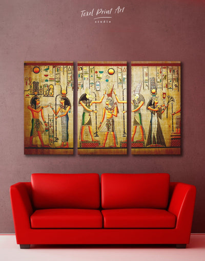 3 Panels Egyptian Wall Art Canvas Print - 3 Panels Antique Brown Egyptian Hallway