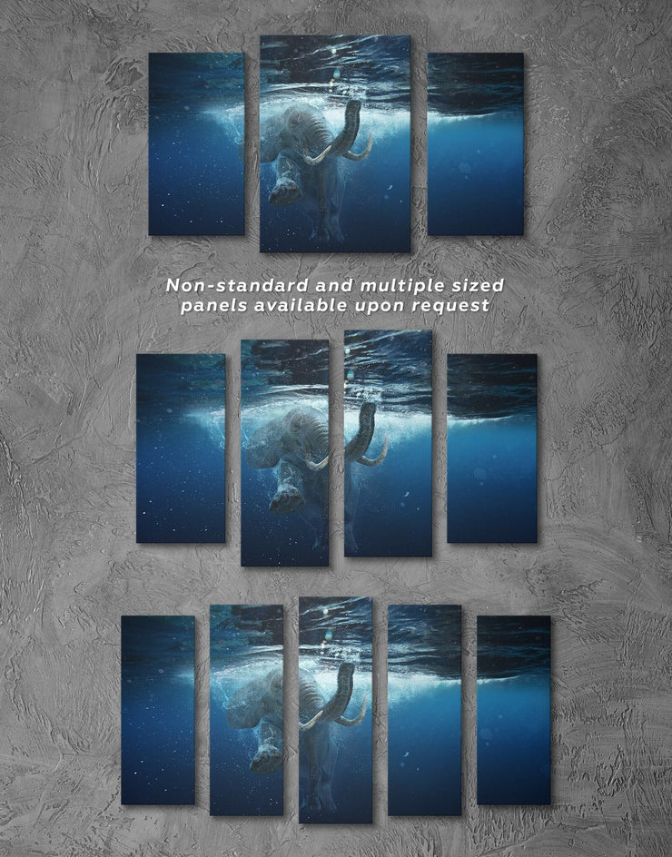 3 Panels Elephant in Water Wall Art Canvas Print - 3 Panels Animal Animals bedroom Blue